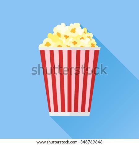 Popcorn flat icon - stock vector