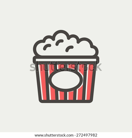 Popcorn icon thin line for web and mobile, modern minimalistic flat design. Vector icon with dark grey outline and offset colour on light grey background. - stock vector