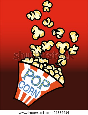 Popcorn in a box on red background - Vector - Also available as a JPG - stock vector