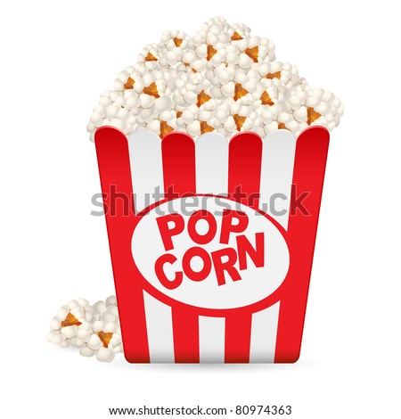 Popcorn in a striped tub. Illustration on white background