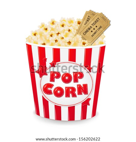 Popcorn In Cardboard Box With Tickets Cinema With Gradient Mesh, Vector Illustration - stock vector