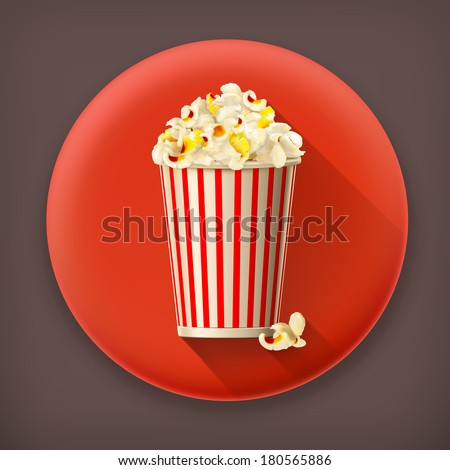 Popcorn long shadow vector icon - stock vector