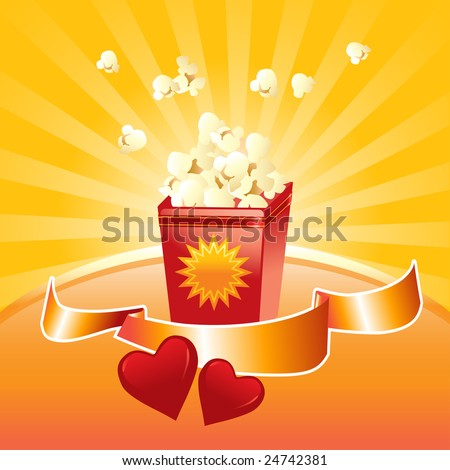 popcorn springing out from the box, shinny label and red hearts vector illustration - stock vector