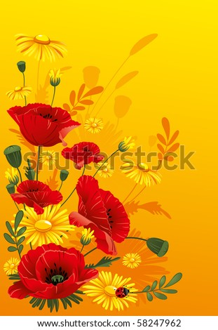 Poppies and daisies. Wonderful background. - stock vector