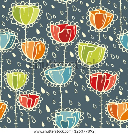 Poppies and rain Seamless Pattern in Retro Style - stock vector