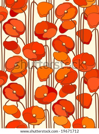 Poppies. Seamless background. - stock vector
