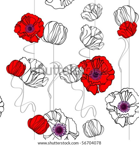 poppies seamless background - stock vector