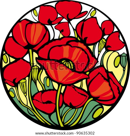 Poppies. There are many red poppies in the circle. - stock vector