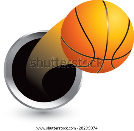 popping through hole basketball - stock vector