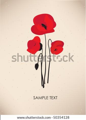 Poppy. Vintage greeting card - stock vector
