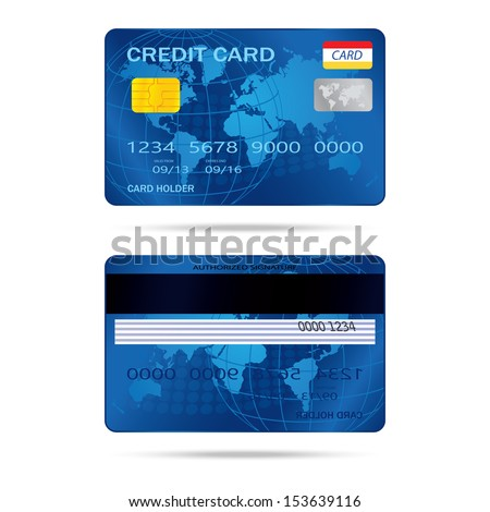 popular blue premium extended business credit card isolated vector - stock vector