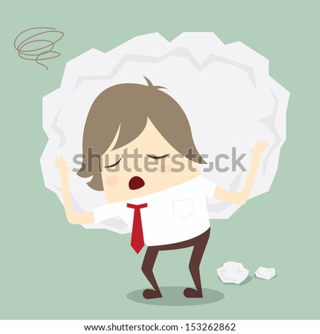 popular businessman serious stress concern confused hard work vector - stock vector