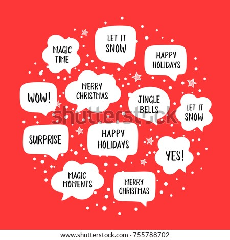 Popular holiday speech bubbles set christmas stock vector 755788702 popular holiday speech bubbles set with christmas greetings merry christmas happy holiday let m4hsunfo