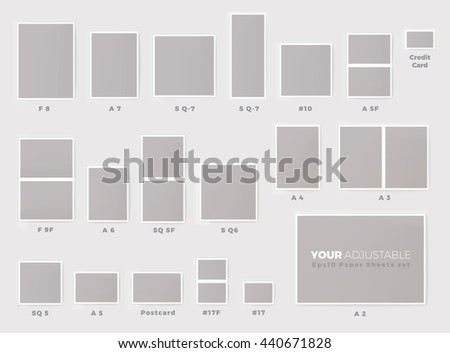 Popular invitation card sizes proportional mock stock vector hd popular invitation card sizes proportional mock up chart set eps10 format stopboris Choice Image