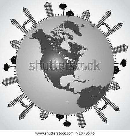 populated earth, abstract vector art illustration - stock vector