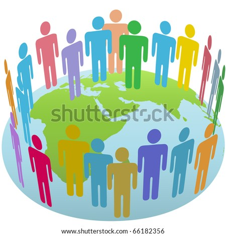 Population of Earth people meet in a world circle on a globe Eastern Hemisphere - stock vector