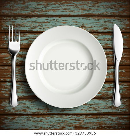 Porcelain plate, fork and knife on a wooden table. Stock vector illustration. - stock vector