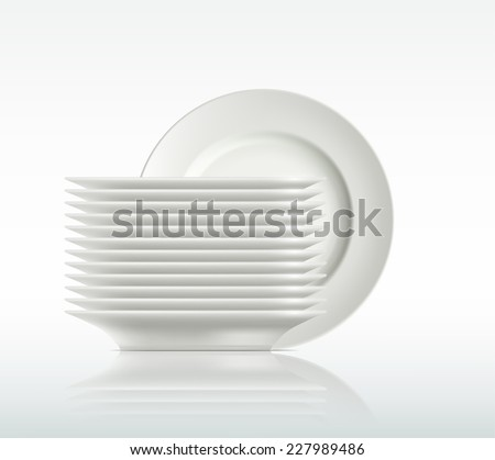 porcelain plates on a white background - stock vector