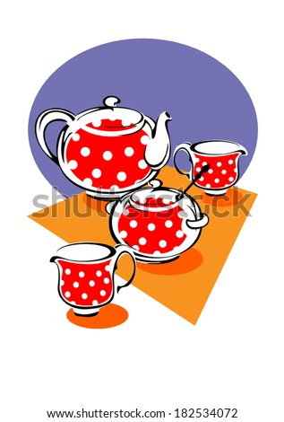 Porcelain tea service red with white polka dots