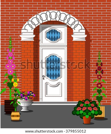 porch of house decorated with potted plants - stock vector