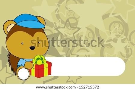 porcupine baby cartoon gift box wallpaper - stock vector
