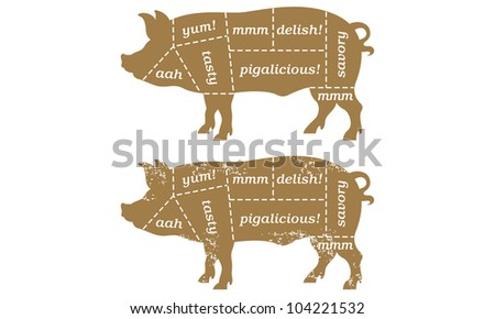Pork Cuts Barbecue Illustration. Includes clean and grunge versions. - stock vector