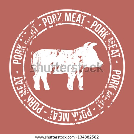 pork meat label over red background. vector illustration