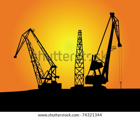 port cargo cranes on an orange background