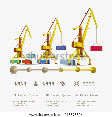 Port crane and containers infographic element vector illustration - stock vector