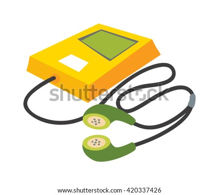 Portable music device and music player vector cartoon digital design. Technology media modern device music player and communication multimedia stereo music player, portable button smartphone. - stock vector