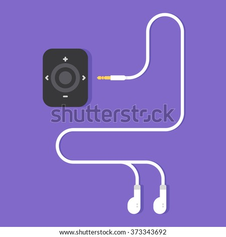 Portable music device. Modern mp3 player with earphones. Vector flat illustration - stock vector