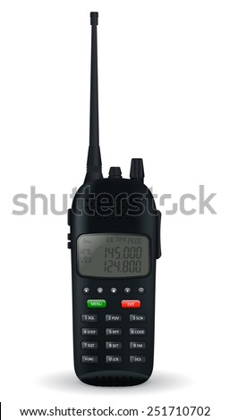 Portable radio transceiver. Vector illustration - stock vector
