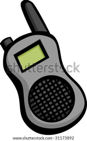 portable two way radio or police and emergency scanner - stock vector