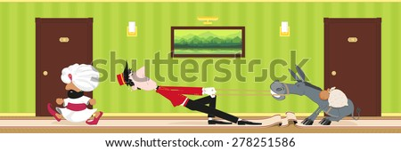 porter pulls stubborn donkey in the hotel corridor for its owner - stock vector