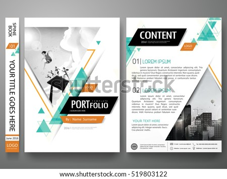 Portfolio design template vector layout.Minimal brochure design report business flyers magazine poster.Abstract green triangle cover book portfolio presentation.City design on A4 brochure layout.