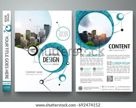 Portfolio design template vector. Minimal brochure report business flyers teen magazine poster. Abstract graphic green circle shape on cover book presentation.