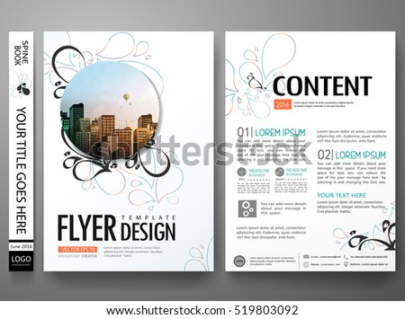 Portfolio design template vector layout.Minimal brochure flower design report business flyers magazine poster.Abstract leaf cover book portfolio vintage presentation.City design on A4 brochure layout.