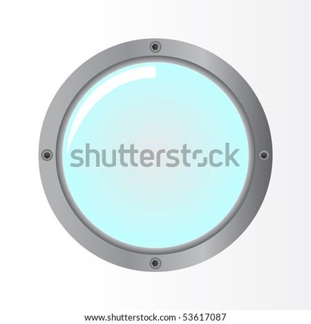 porthole on white - stock vector