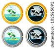 Porthole set day and night set - stock photo