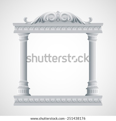 Portico an ancient temple. Colonnade.  Vector Illustration. - stock vector