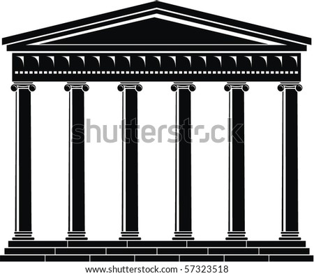 Portico (Colonnade), an ancient temple - stock vector
