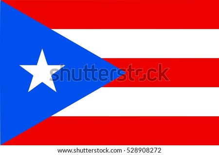 Portorican flag from Porto Rico, unincorporated terrotory of the USA - isolated vector illustration