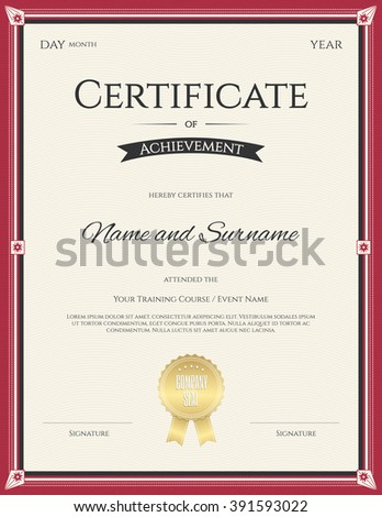 Portrait certificate achievement template vector graduation stock portrait certificate of achievement template in vector for graduation completion yadclub Choice Image