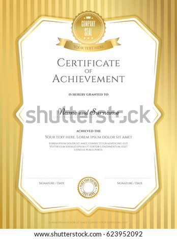Portrait Certificate Of Achievement Template In Vector Gold Color  Certificate Of Achievement Template