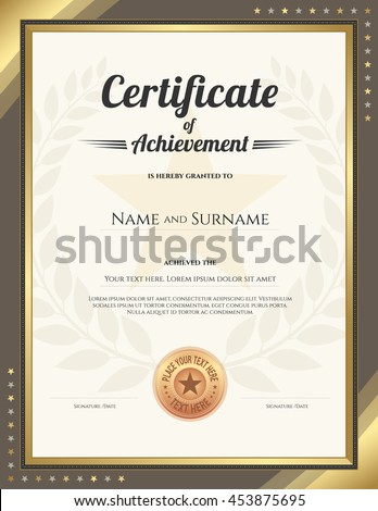 Portrait Certificate Of Achievement Template With Gold Border And Awarded  Wreath And Star Background  Certificate Achievement Template
