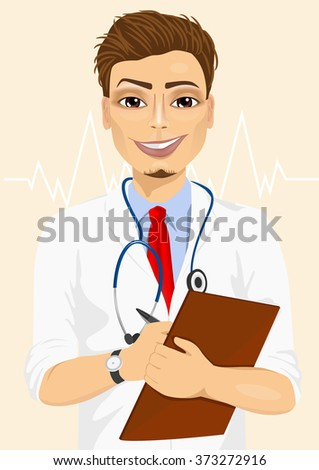 Portrait confident male doctor medical professional taking patient notes - stock vector