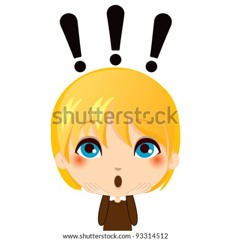Portrait illustration of cute kid making a surprise gesture expression - stock vector