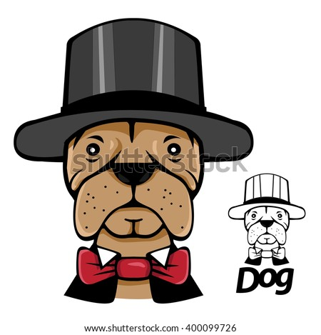 portrait magic dog  Hatter hat