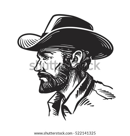 Portrait man cowboy hat sketch vector stock vector for Cowboy silhouette tattoo