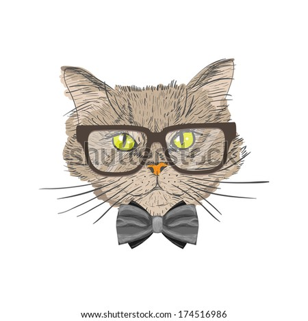 Portrait of a cat with bow tie and glasses hipster with look isolated vector illustration - stock vector